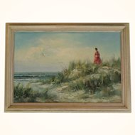 Oil on canvas of a women on a beach landscape