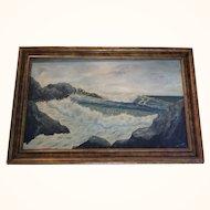 Ellen Thornton Mid century seascape oil on canvas