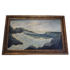 Ellen Thornton Mid century seascape oil on canvas