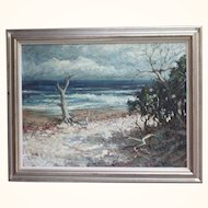 Mid-century oil painting of a seascape and shoreline