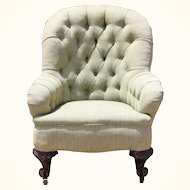 Victorian Wingback Chair 1800's with wooden casters