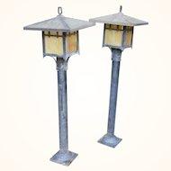 Mid century arts and craft meyda style outdoor lamp posts