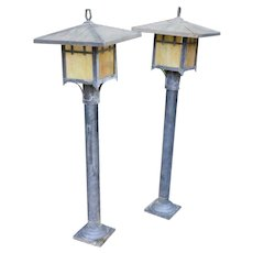 Mid century arts and craft mission style outdoor lamp posts