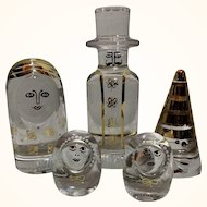 Kosta Boda Glass 5 Figurine Set of a family Paper Weights