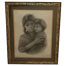Leslie Emery Graphite Drawing - Mother and Child