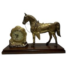 United Clock Corporation Brooklyn N.Y. Horse figurine clock model #315