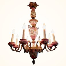 Sèvres Porcelain & Gilded Bronze Eight-Arm French Provincial Pink Chandelier