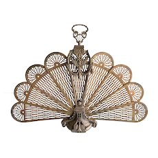Vintage French Louis XV Style Brass Peacock Fanned Fire Screen