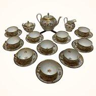 Lamm Dresden Hand-Painted Tea Service Ten Cups and Saucers