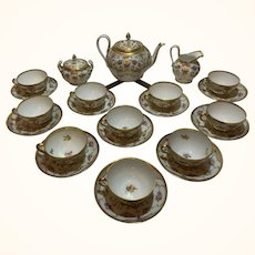 Lamm Dresden Hand-Painted Tea Service Ten Cups and Saucers