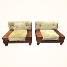 Mid-Century Modern solid wood designer platform loft style Club/Platform matching chairs with crushed velvet material