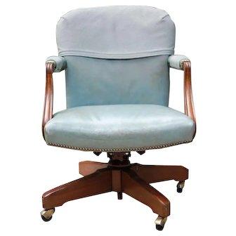 Kittinger Mahogany 1960's swivel leather executive desk chair