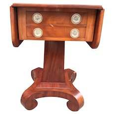 Empire period Mahogany Dropped Leaved Two-drawer Work/Side/Nighside Table