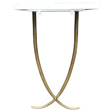 Rare Mid Century Modern crossed gold colored metal horned console table