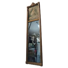 """Trumeau Mirror gold gesso & gilt with a stipple engraving image of the """"Age of Innocence"""""""