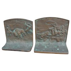 Buffalo Hunt and Lassoing Steer Bookends