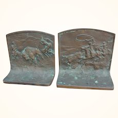 Buffalo Hunt and Lassoing Steer Solid Bronze Bookends