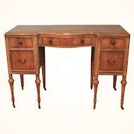 Antique Edwardian Serpentine Exotic wood writing table