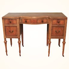 Antique Edwardian Serpentine Exotic wood writing table