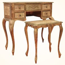 Venetian Painted Poudreuse (DRESSING TABLE)  with a matching stool