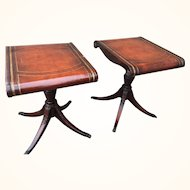 Vintage Weiman Regency Tooled Leather Scroll Top Crotch Mahogany Side Table
