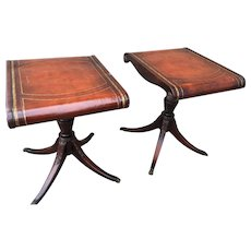 Duncan Phyfe Entry hall tables leather top with gold 24 carat leaf