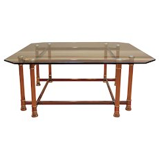 Mastercraft Mid-Century brass and glass table