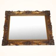 Large vintage rectangular gold gilt mirror