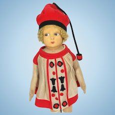 Vintage 1930's Lenci Felt Girl Doll