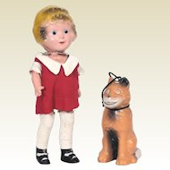 Vintage Little Orphan Annie Composition Doll with her dog Sandy