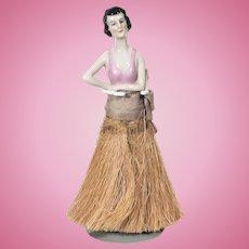 German china half doll pink clothes brush