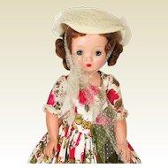 Madame Alexander Cissy drapery print dress 1950's