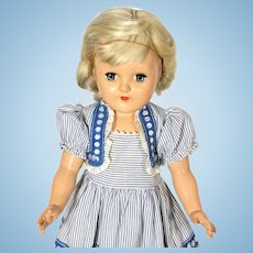 Ideal Toni Vintage Hard Plastic Platinum Blond P91 Doll (1949) in Bolero Dress