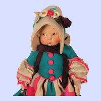 Lenci La Modestina WWII era felt doll with Amore hat box
