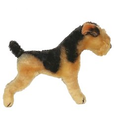 "Steiff  ""Terry"" Airedale Terrier post WW II Us Zone Germany from 1950's"