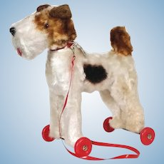 50's Rolly Toys Wire Hair Fox Terrier wheeled toy Western / West Germany