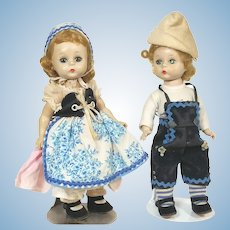 Madame Alexander Hansel and Gretel Alexander Kins SLW walker dolls from 1955