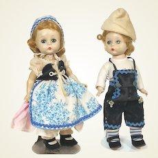 Madame Alexander Hansel and Gretel Alexander Kins SLW walker dolls from 1955