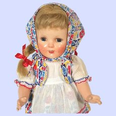 American Character Petite Sally composition doll Shirley Temple type