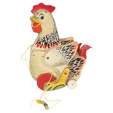 Fisher Price Wooden Cackling Hen pull toy from the 1950's