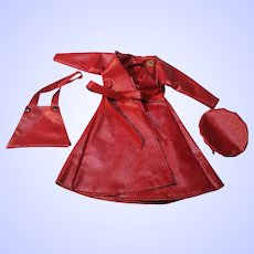 Red Faux Leather / Vinyl coat for Barbie