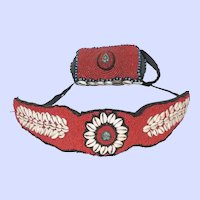 Vintage Hawaiian Or Polynesian Hand Beaded Purse And Belt