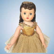 Madame Alexander 1950's Hard Plastic Elise Ballerina Doll In Gold Tutu
