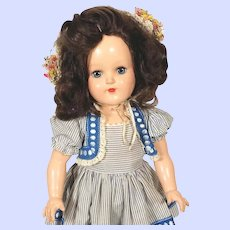 Ideal Toni Hard Plastic Brunet P91 Doll (1949) in Bolero Dress