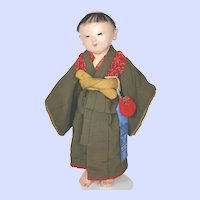 Antique Japanese Ichimatsu Ningyo Boy Doll Late Meiji Period