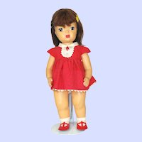 Vintage 1950's Terri Lee Hard Plastic Doll In Tagged Dress.