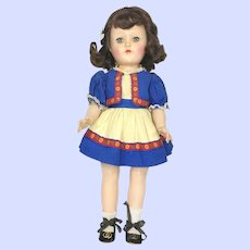 Ideal P90  Black Haired Toni Hard Plastic P-90 Doll In Dirndl Dress