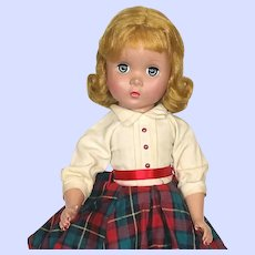 Madame Alexander 1940's Hard Plastic Maggie Doll In Plaid Skirt