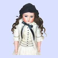 Antique Kestner 195 Fur Eyebrows Bisque Head Doll