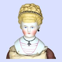 Antique ABG Parian Head Empress Augusta Victoria Doll With Iron Cross